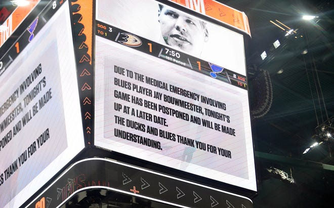 The announcement at Honda Center that the Blues-Ducks game was postponed.