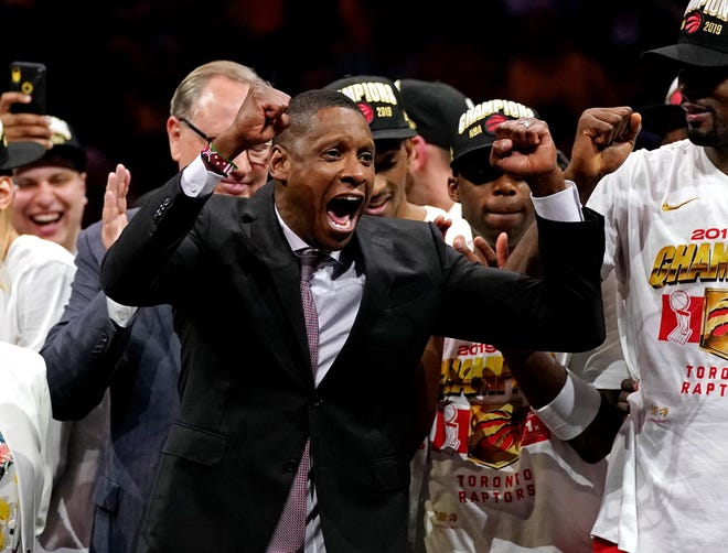 Raptors president Masai Ujiri celebrates after the Toronto Raptors beat the Golden State Warriors in Game 6 of the 2019 NBA Finals at Oracle Arena.