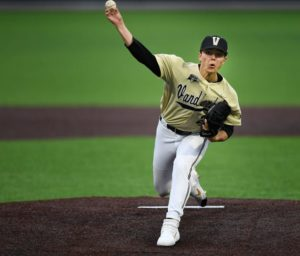 Vanderbilt pitcher Jack Leiter (22) fires in a pitch against South Alabama during the first inning at Hawkins Field Tuesday, Feb. 18, 2020 in Nashville, Tenn.