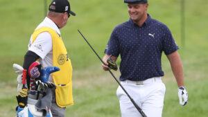 Bryson DeChambeau snaps head off his driver during PGA Championship