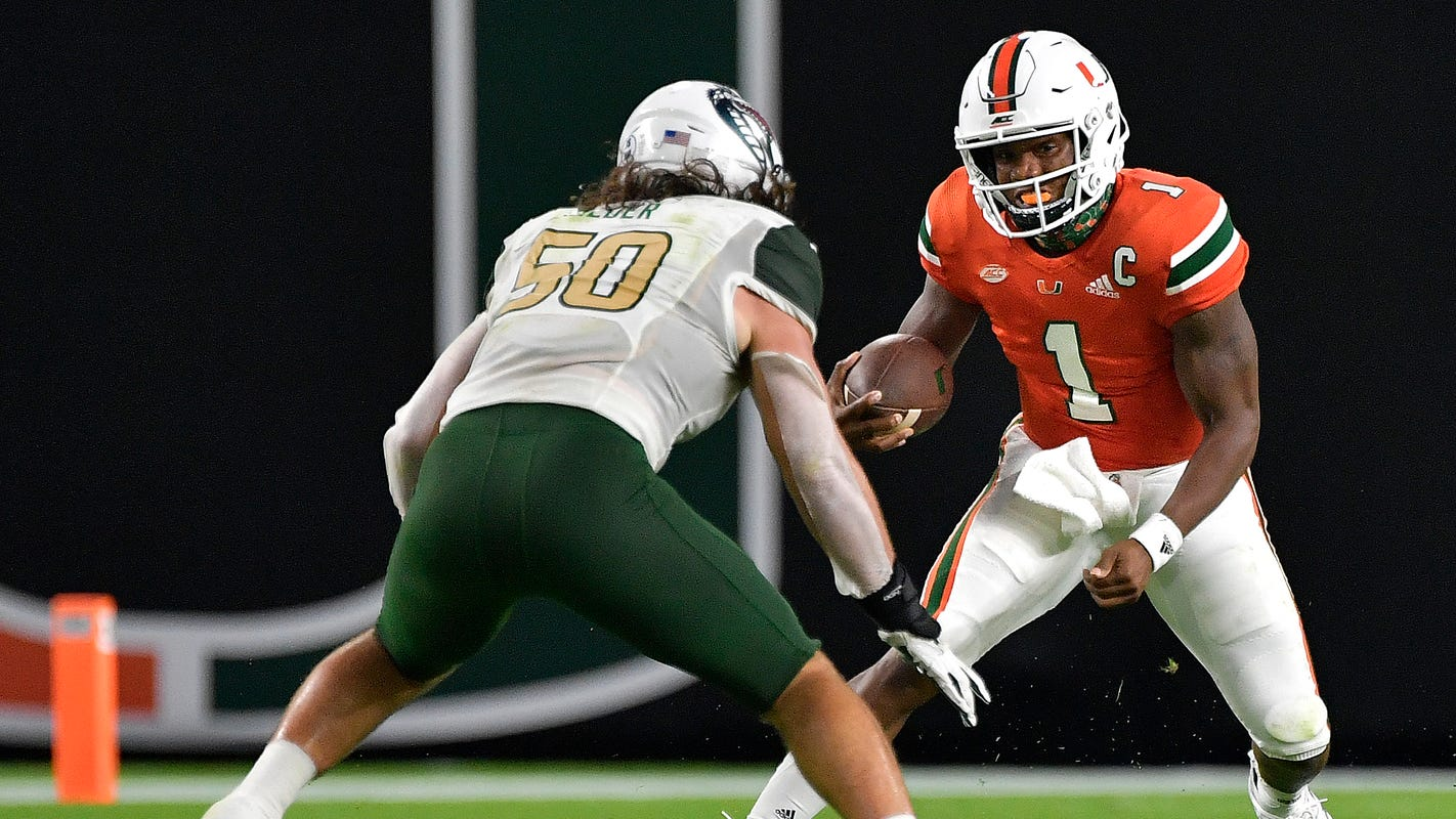 D'Eriq King stellar in debut for Miami Hurricanes vs. UAB Blazers