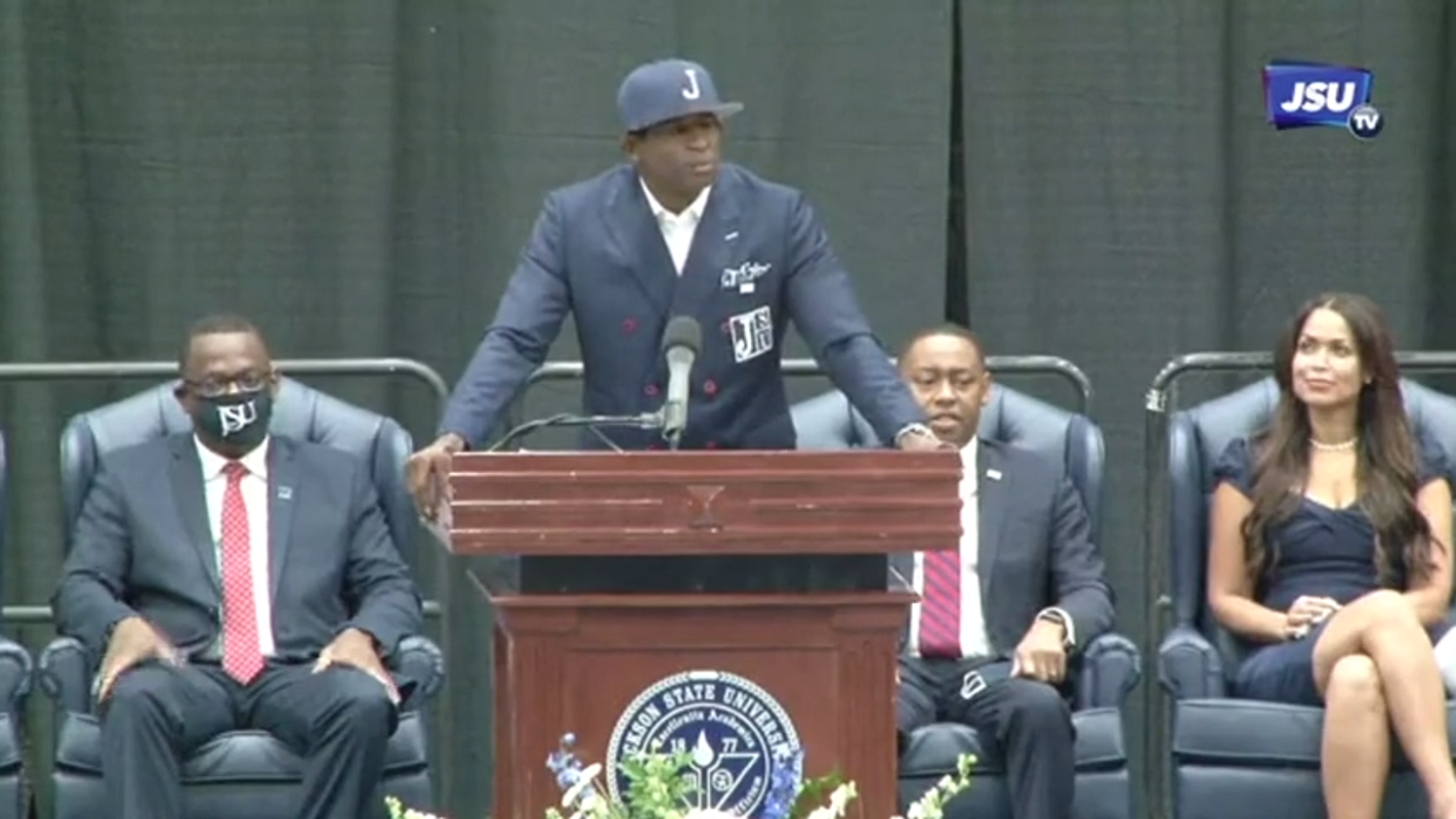 Jackson State lets Deion Sanders know 'We Believe' as he's introduced to the school