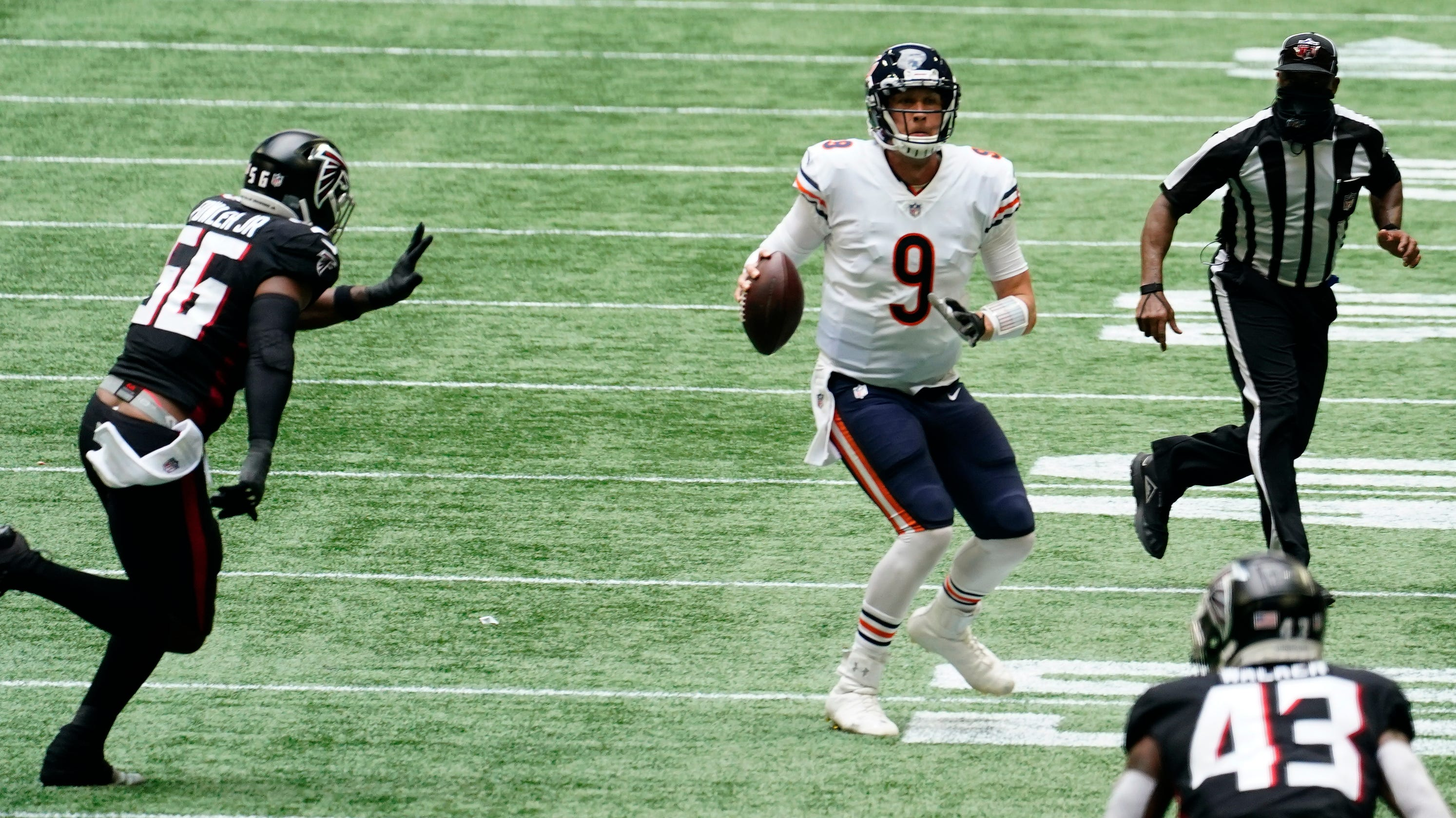 Nick Foles sparks Chicago Bears to fourth-quarter comeback as Atlanta Falcons collapse late again