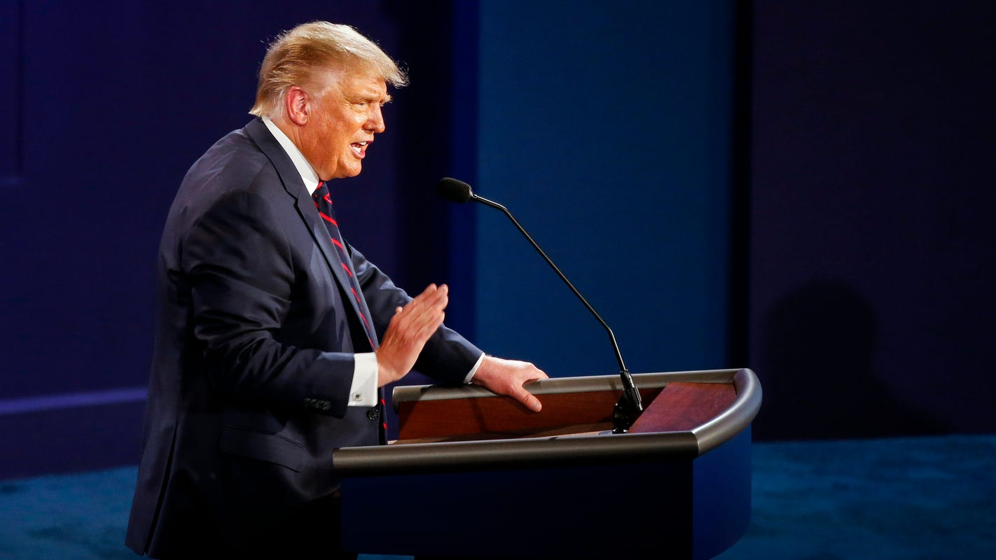 President Donald Trump, during debate, declares, 'I brought back Big Ten football'