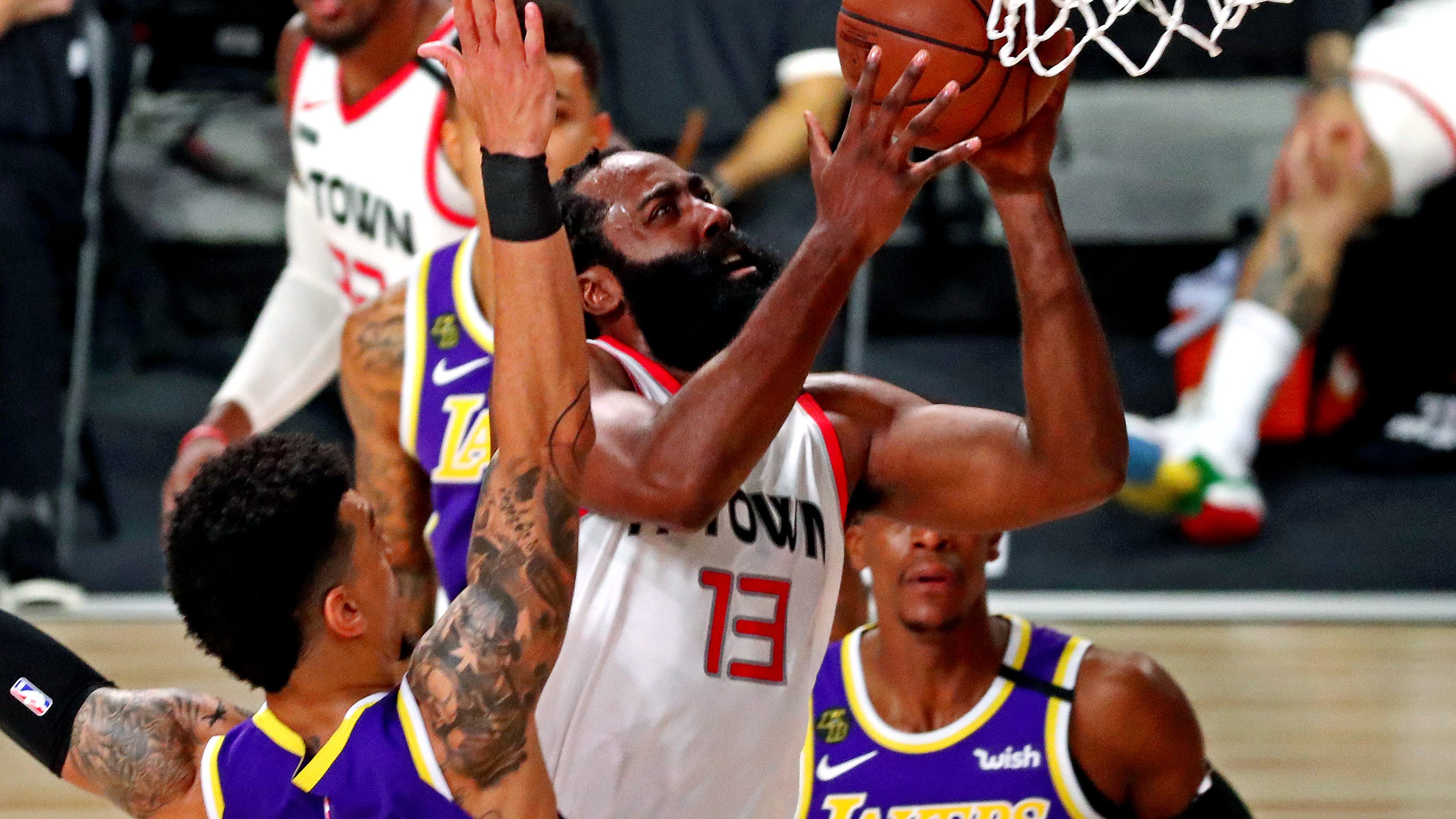 Rockets' James Harden, Russell Westbrook overcome Lakers' LeBron James, Anthony Davis in Game 1