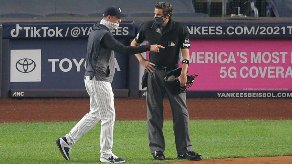 Yankees manager Aaron Boone goes on profane rant after ejection in first inning vs. Marlins
